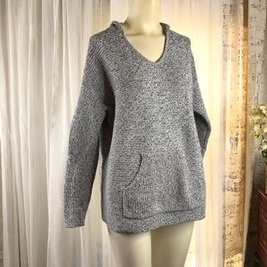 Pure Jill Hooded Sweater Gray Knitted Sz XL